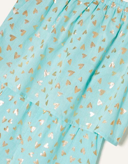 Foil Heart Print Frill Playsuit, Blue (TURQUOISE), large