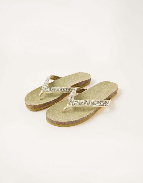 Embellished Toe-Post Flatform Sandals Gold, Gold (GOLD), large