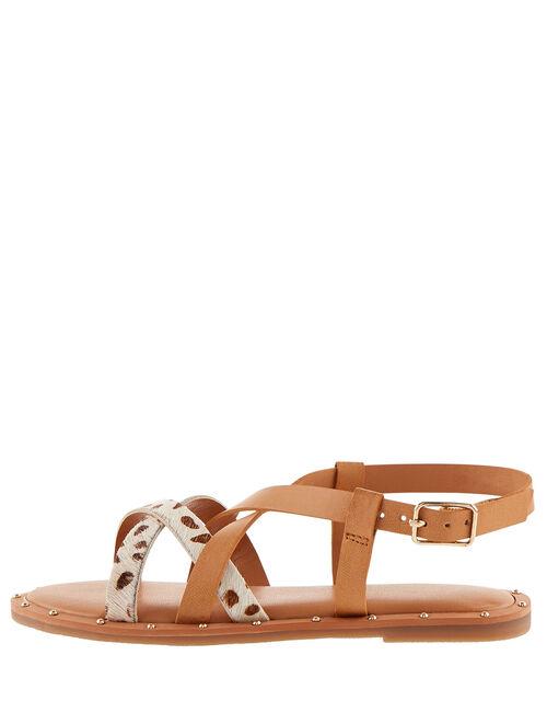 Animal Print Leather Strap Sandals, Tan (TAN), large