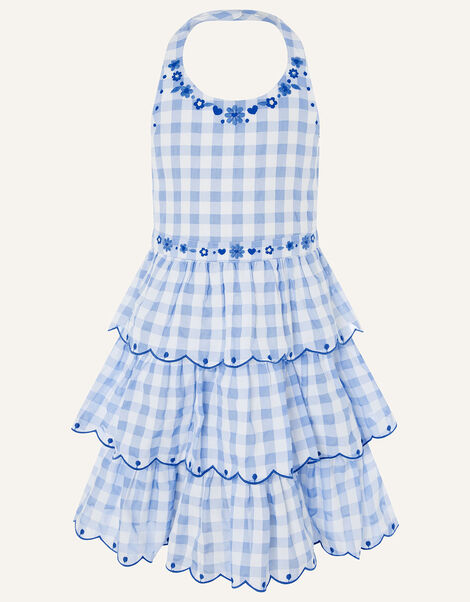 Gingham Halter Embroidered Dress  Blue, Blue (BLUE), large