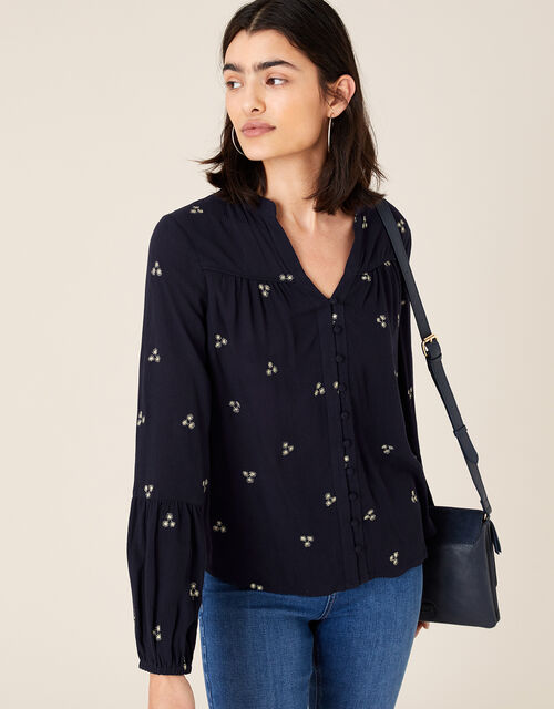 Embroidered Top in LENZING™ ECOVERO™, Blue (NAVY), large