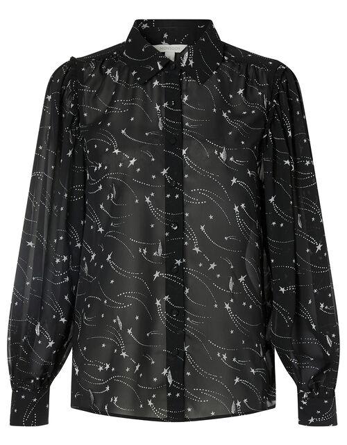Star Print Embroidered Blouse, Black (BLACK), large