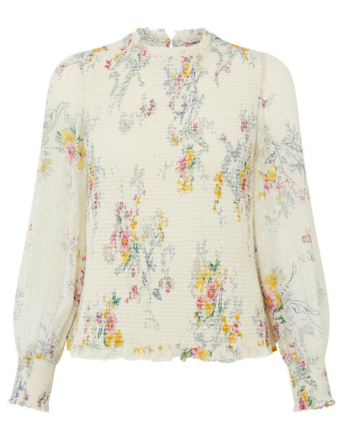 Blossom Print Shirred Blouse, Ivory (IVORY), large