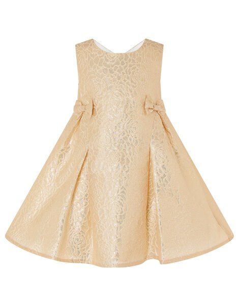 Baby Shimmer Rose Jacquard Dress Gold, Gold (GOLD), large