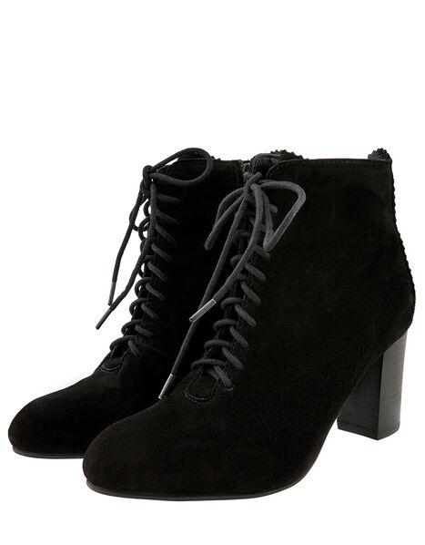 Lia Suede Lace-Up Ankle Boots Black, Black (BLACK), large