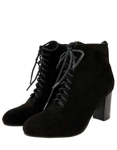 Lia Suede Lace-Up Ankle Boots Black, Black (BLACK), large