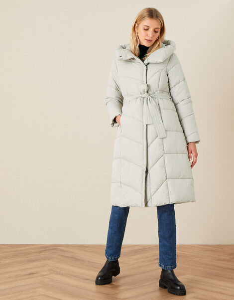 Bettina Longline Padded Coat with Recycled Polyester Brown, Brown (MUSHROOM), large