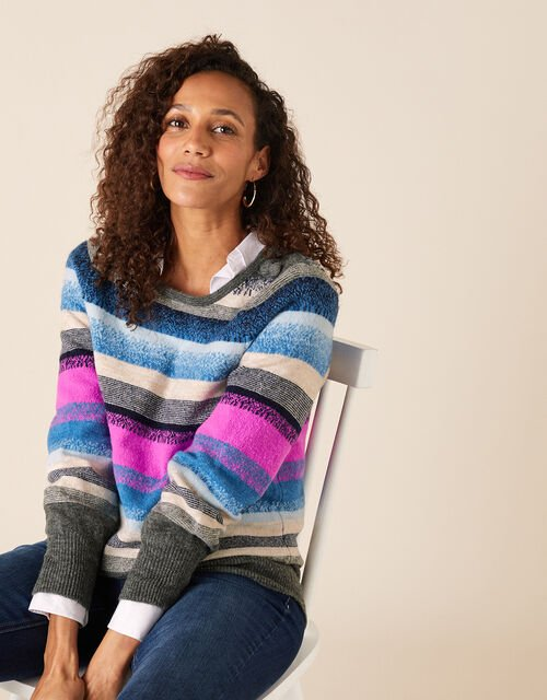Button Shoulder Stripe Knit Jumper, Blue (BLUE), large