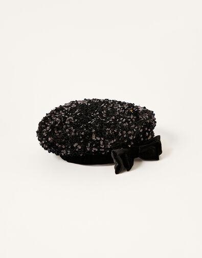 Sequin Beret Black, Black (BLACK), large