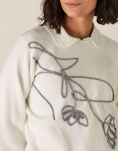 Flower Cornelli Knit Jumper, Ivory (IVORY), large