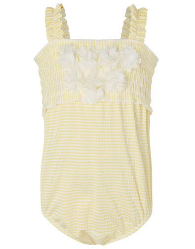 Baby Seersucker Flower Swimsuit  Yellow, Yellow (YELLOW), large