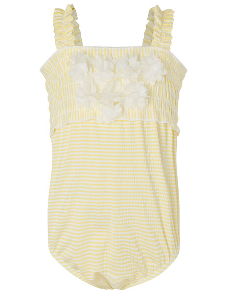 Baby Seersucker Flower Swimsuit  Yellow, Yellow (YELLOW), large