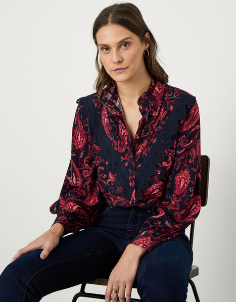 Lace Trim Paisley Print Blouse Red, Red (RED), large