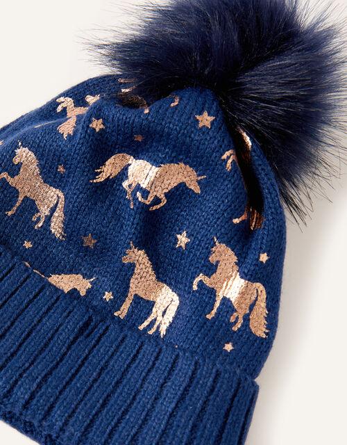 Metallic Unicorn Beanie, Blue (NAVY), large