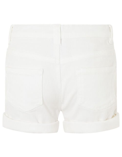 Denim Shorts, White (WHITE), large