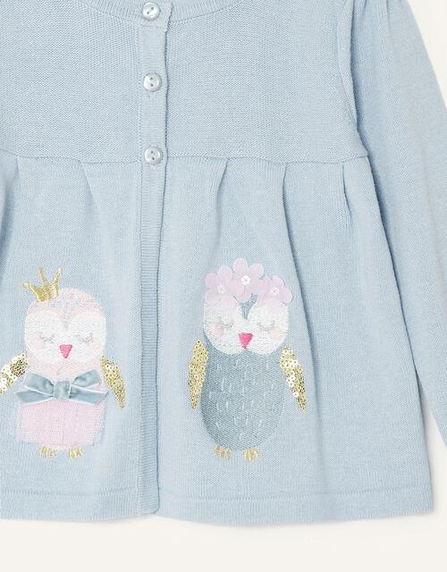 Baby Owl Cardigan, Blue (AQUA), large