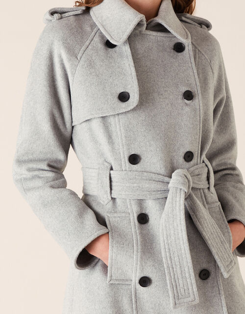 Trench Coat in Wool Blend, Grey (GREY), large