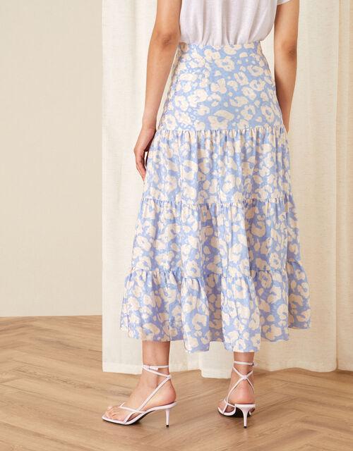 Animal Print Tiered Skirt, Blue (BLUE), large