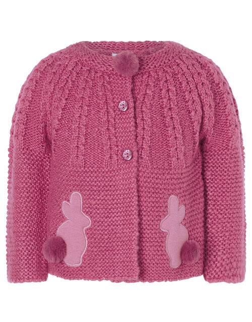 Baby Bunny Chunky Knit Cardigan, Pink (PINK), large