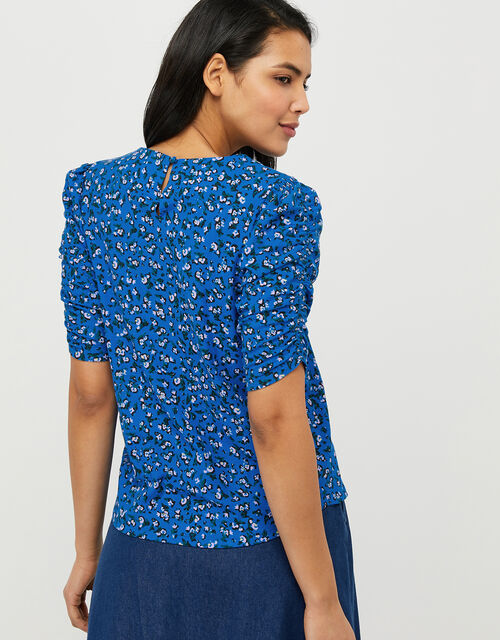 Fagen Ditsy Floral Top in Organic Cotton, Blue (BLUE), large