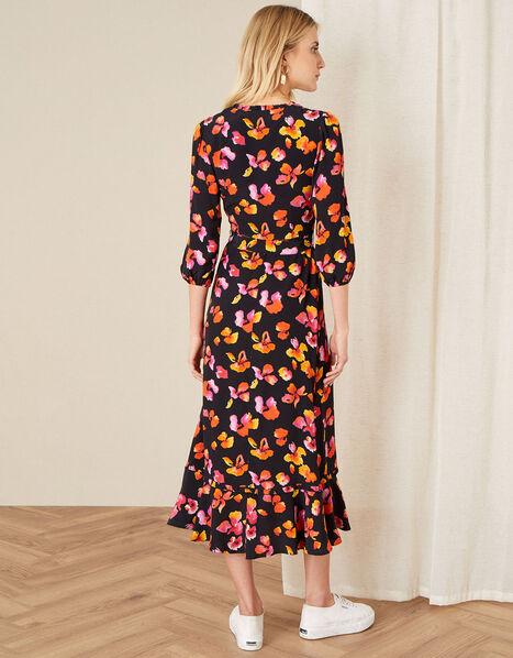 Yazmin Floral Wrap Dress Black, Black (BLACK), large