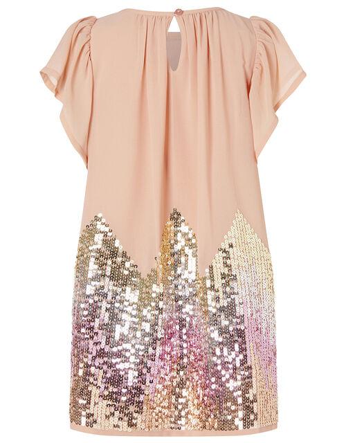 Sequin Chevron Dress, Pink (PALE PINK), large