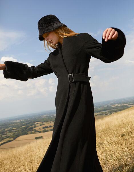 Faux Fur Cuff Maxi Coat in Wool Blend Black, Black (BLACK), large