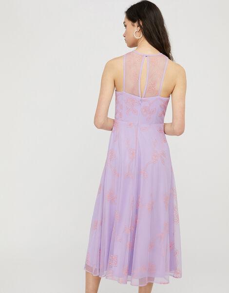 Gabriella Embroidered Floral Midi Dress Purple, Purple (PURPLE), large