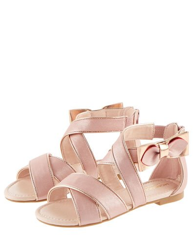 Shimmer Bow Strappy Sandals Pink, Pink (PINK), large