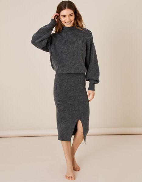 LOUNGE Knit Midi Skirt Grey, Grey (CHARCOAL), large