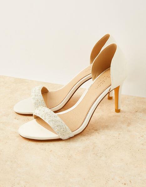 Beaded Peep-Toe Bridal Heels Ivory, Ivory (IVORY), large