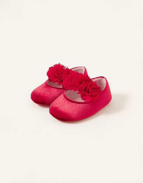 Corsage Velvet Booties Red, Red (RED), large