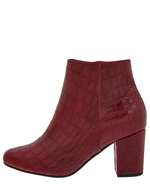 Cindy Croc Ankle Boots, Burgundy, large