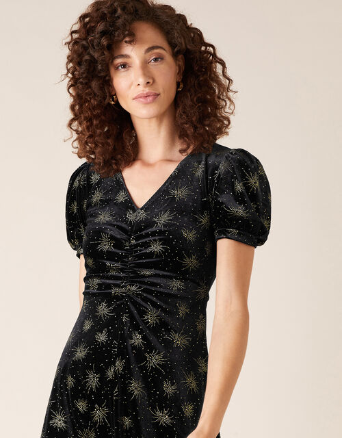 Ebony Glitter Print Stretch Velvet Dress, Black (BLACK), large