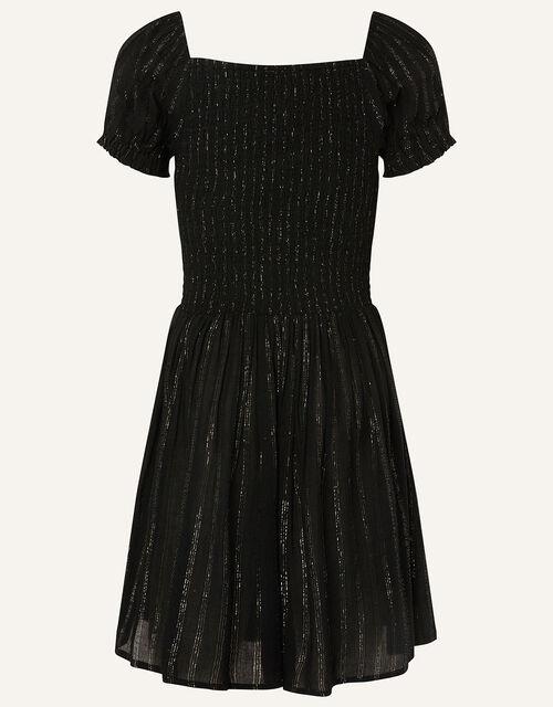 Sparkle Puff Sleeve Dress , Black (BLACK), large