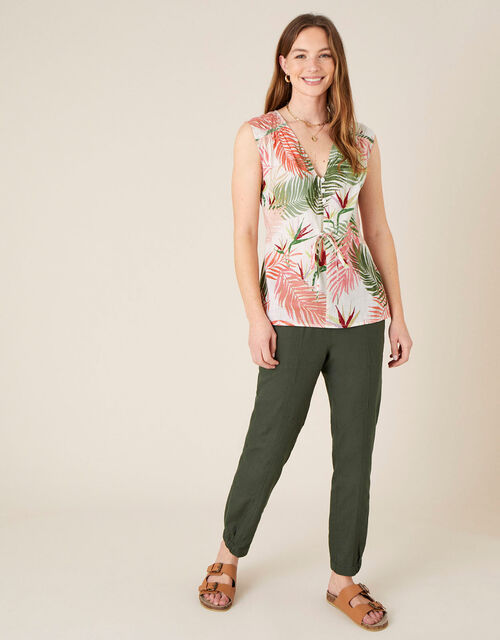 Palm Print Top in Pure Cotton, Natural (STONE), large