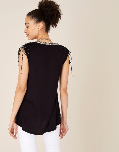 Animal Print Sleeveless Top Black, Black (BLACK), large