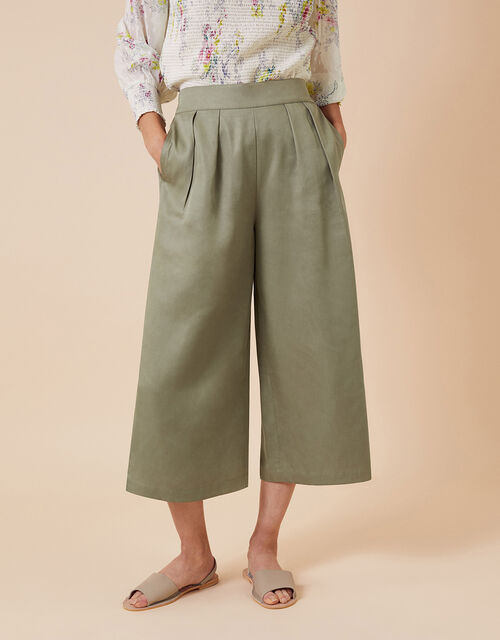 Cropped Trousers in LENZING™ ECOVERO™, Green (KHAKI), large