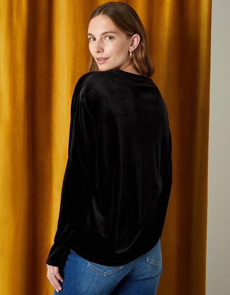 Velvet Jersey Long Sleeve Top Black, Black (BLACK), large