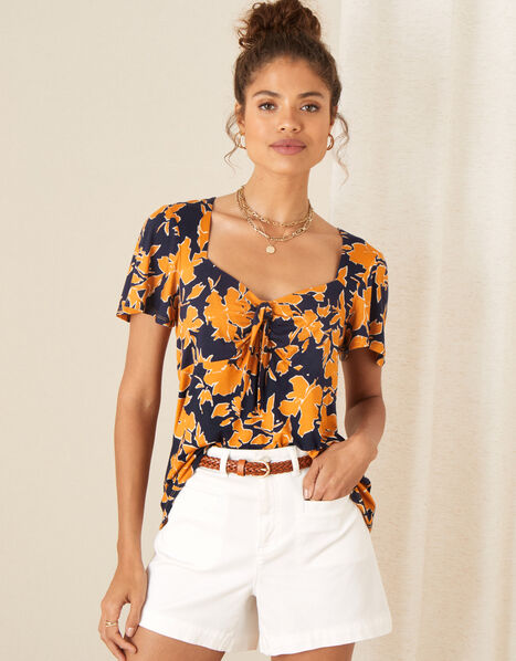 Floral Tie Front Jersey Top Blue, Blue (NAVY), large