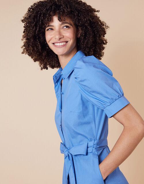 Plain Shirt Midi Dress, Blue (BLUE), large