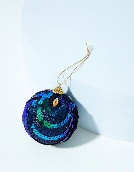 Peacock Sequin Christmas Bauble, , large