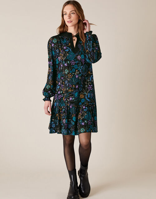 Floral Print Short Dress, Black (BLACK), large