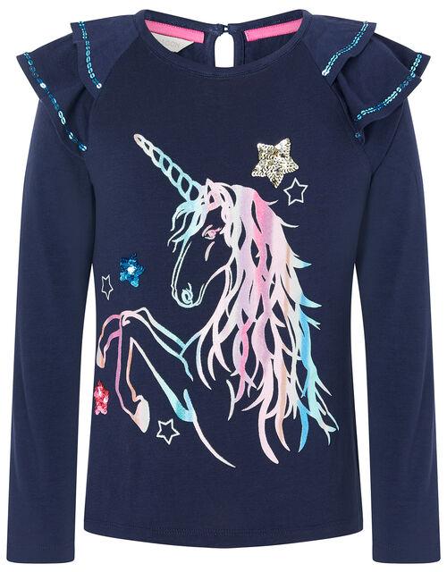 Rainbow Unicorn Long Sleeve Top, Blue (NAVY), large