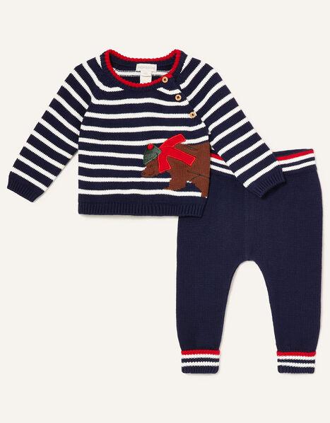 Newborn Bear and Stripe Knit Set Blue, Blue (NAVY), large