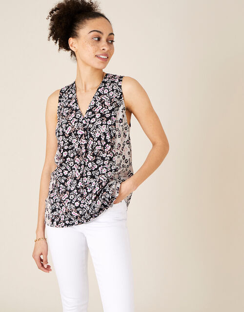 Patched Top in LENZING™ ECOVERO™, Black (BLACK), large