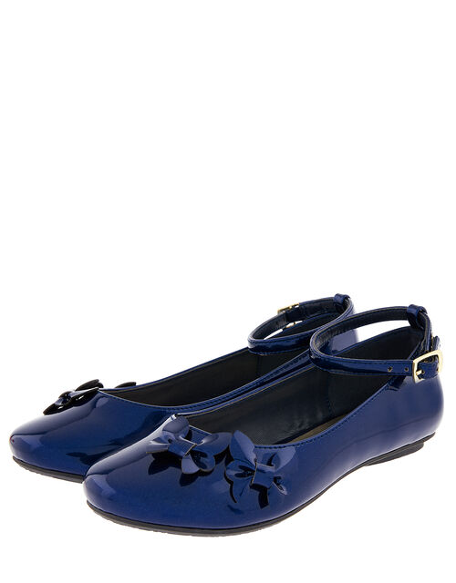Butterfly Patent Ballerina Flats, Blue (NAVY), large