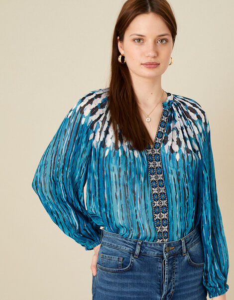 Feather Print Embellished Top Blue, Blue (BLUE), large