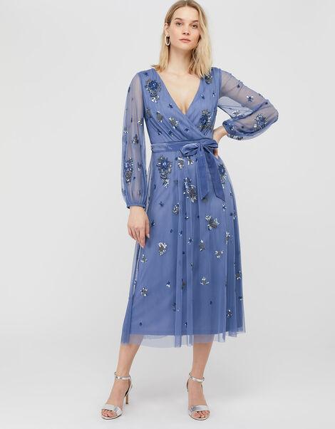 ARTISAN Rosanna Embellished Midi Dress Blue, Blue (BLUE), large