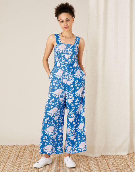 Printed Jumpsuit in LENZING™ ECOVERO™ Blue, Blue (BLUE), large